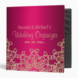 Fuchsia and Gold Indian Style Wedding Organizer 3 Ring Binder
