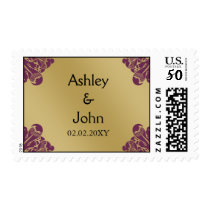 Fuchsia and Gold Wedding Postage