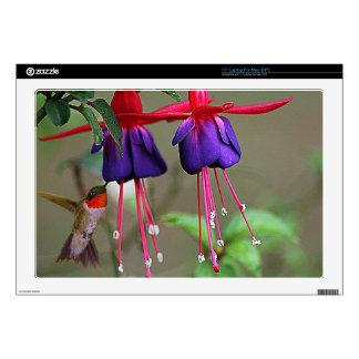 "Fuchsia and Hummingbird 17"" Laptop Skin"