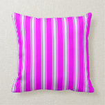 [ Thumbnail: Fuchsia and Lavender Colored Stripes Throw Pillow ]