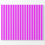 [ Thumbnail: Fuchsia and Lavender Colored Stripes Wrapping Paper ]