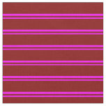 [ Thumbnail: Fuchsia and Maroon Striped Pattern Fabric ]