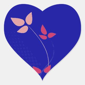 Fuchsia and navy blue wedding heart sticker