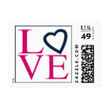 Fuchsia And Navy Blue  Wedding Postage Love Stamps