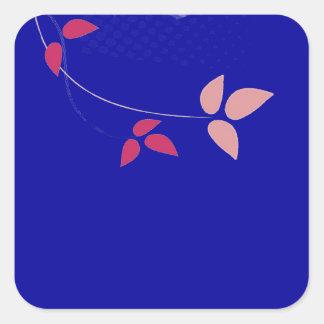 Fuchsia and navy blue wedding square sticker