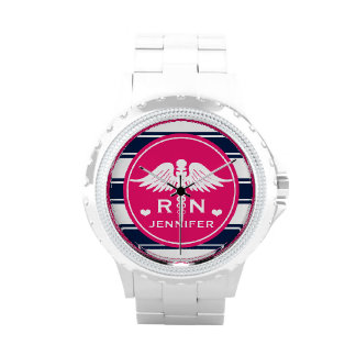 Fuchsia and Navy Stripe Caduceus RN Nurse Wrist Watches
