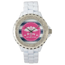 Fuchsia and Navy Stripe Caduceus RN Nurse Watch