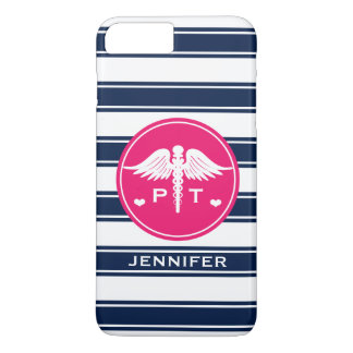 FUCHSIA AND NAVY STRIPE PHYSICAL THERAPY PT iPhone 7 PLUS CASE