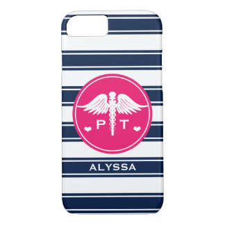 FUCHSIA AND NAVY STRIPE PHYSICAL THERAPY PT iPhone 8/7 CASE