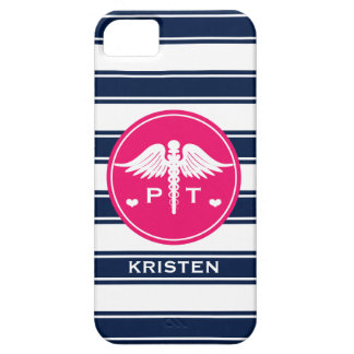 FUCHSIA AND NAVY STRIPE PHYSICAL THERAPY PT iPhone SE/5/5s CASE