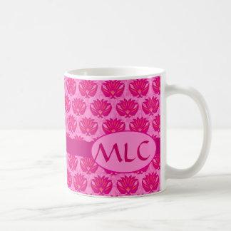 Fuchsia and Pink Art Nouveau Damask Monogram Classic White Coffee Mug