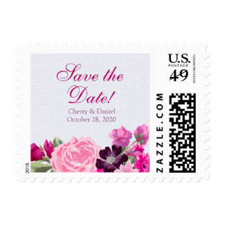 Fuchsia and Plum Floral Save The Date Postage
