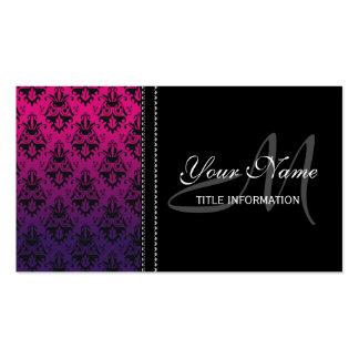 Fuchsia and Purple Damask Pattern Business Card