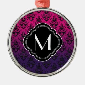 Fuchsia and Purple Damask Pattern Metal Ornament