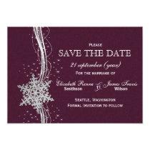 fuchsia and silver winter wedding invitations