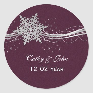 fuchsia and silver winter wedding invitations classic round sticker
