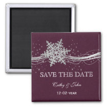 fuchsia and silver winter wedding invitations magnet