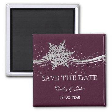fuchsia and silver winter wedding invitations magnet