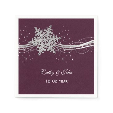 fuchsia and silver winter wedding invitations paper napkin