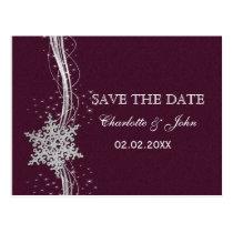 fuchsia and silver winter wedding invitations postcard