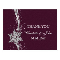 fuchsia and silver winter wedding invitations postcard