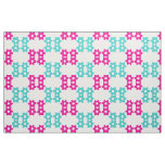 Fuchsia and Turquoise Blue Floral Pattern Fabric