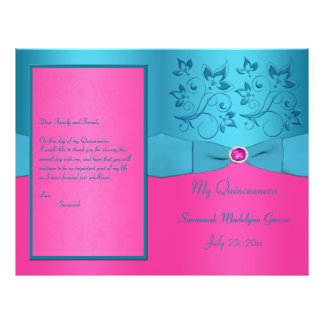 Fuchsia and Turquoise Floral Quinceanera Program Flyer