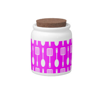 Fuchsia and White Kitchen Cooking Utensils Pattern Candy Jar