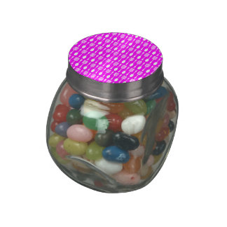 Fuchsia and White Kitchen Cooking Utensils Pattern Jelly Belly Candy Jars