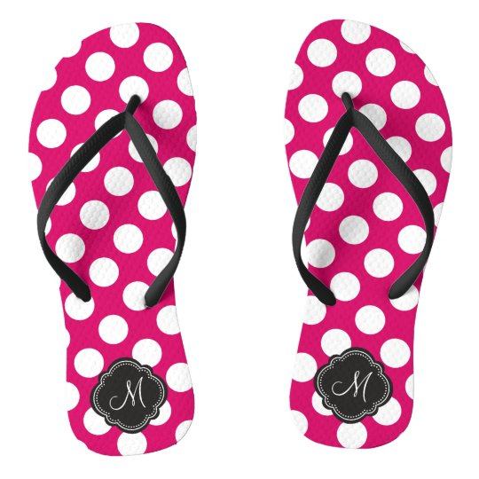 2fd629fef03bcf Fuchsia and White Polka Dots with Monogram Flip Flops