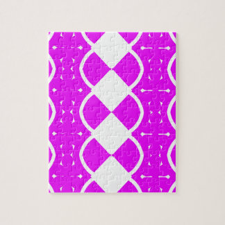 Fuchsia and White Weaves Jigsaw Puzzle