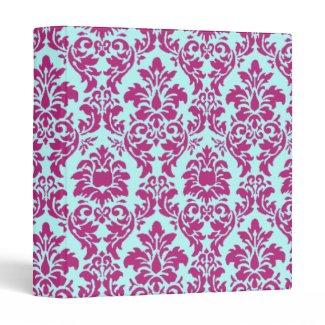 Fuchsia & Aqua Damask binder
