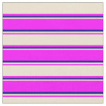 [ Thumbnail: Fuchsia, Beige, and Blue Colored Lined Pattern Fabric ]