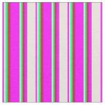 [ Thumbnail: Fuchsia, Beige, Green & Red Striped Pattern Fabric ]