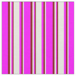 [ Thumbnail: Fuchsia, Beige & Maroon Stripes Pattern Fabric ]