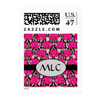 Fuchsia Black Grey Art Nouveau Damask Monogram Postage