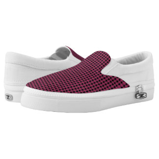 Fuchsia & Black Houndstooth Slip-On Sneakers