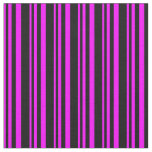 [ Thumbnail: Fuchsia & Black Lined Pattern Fabric ]