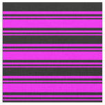 [ Thumbnail: Fuchsia & Black Pattern Fabric ]