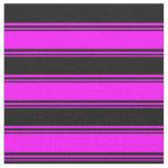 [ Thumbnail: Fuchsia & Black Stripes Fabric ]