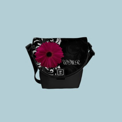 Fuchsia, Black/White Gerbera Daisy Courier Bag