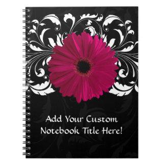 Fuchsia, Black/White Gerbera Daisy Spiral Notebook
