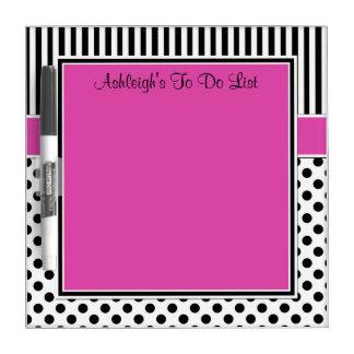 Fuchsia Black White To Do List Dry Erase Board