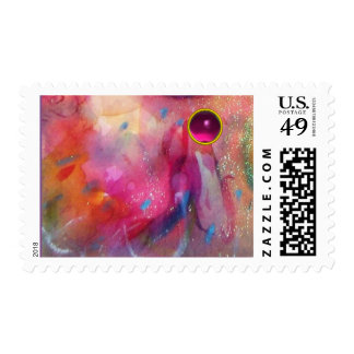 FUCHSIA BLUE ABSTRACT WITH PINK GEMSTONE POSTAGE