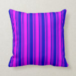 [ Thumbnail: Fuchsia & Blue Colored Pattern Throw Pillow ]