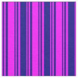 [ Thumbnail: Fuchsia & Blue Lined/Striped Pattern Fabric ]