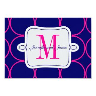 Fuchsia Blue Modern Wedding Reception #2 Card