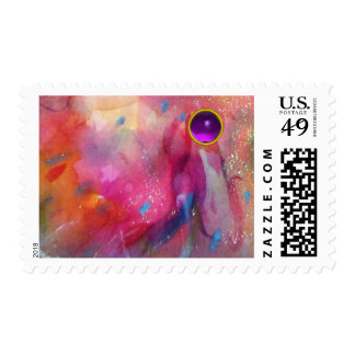 FUCHSIA BLUE PINK ABSTRACT WITH PURPLE GEMSTONE POSTAGE