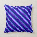 [ Thumbnail: Fuchsia, Blue, Powder Blue, Royal Blue & Dark Blue Throw Pillow ]