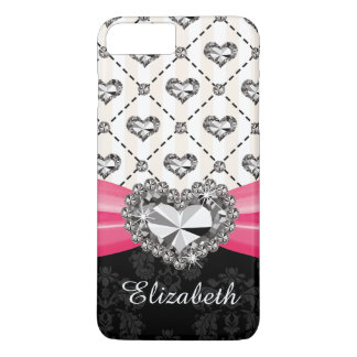 Fuchsia Bow Faux Heart Diamond iPhone 7 Plus Case